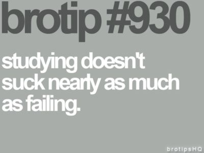 """""""Studying doesn't suck nearly as much as failing"""" Gotta remember this when I go back to school"""