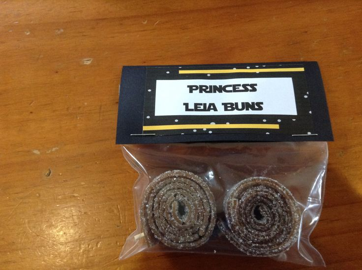 Princess Leia Buns - Cola straps wound into bun shapes (secured with a toothpick).