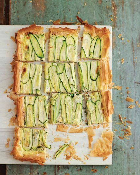 Zucchini Tart | Martha Stewart Living - So pretty, so summery; this savory custard-filled, zucchini-topped tart is made with phyllo -- no pastry making or even rolling out required.