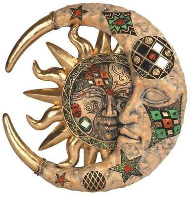 Tan Cracked Mosaic Crescent Moon and Sun Hanging Wall Plaque