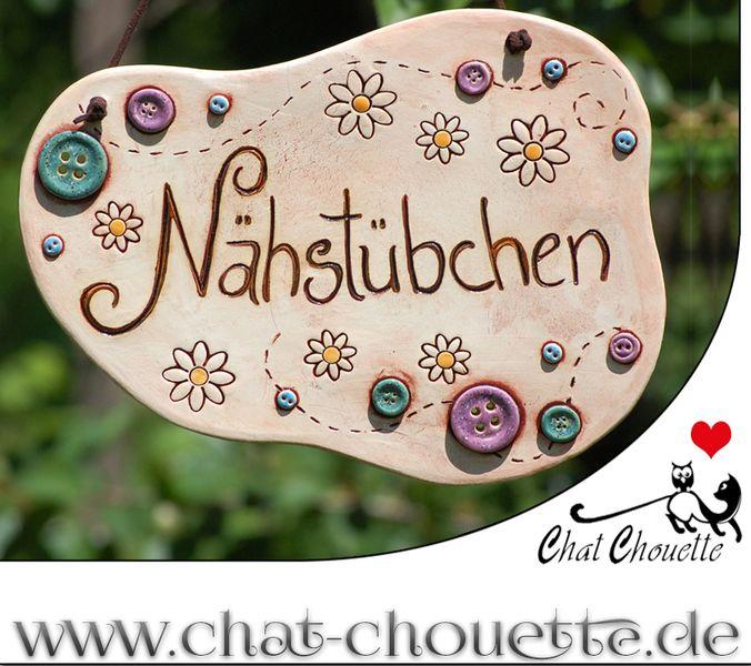 """großes Türschild fürs Nähzimmer """"Nähstübchen"""" von Chat Chouette auf DaWanda.com"""
