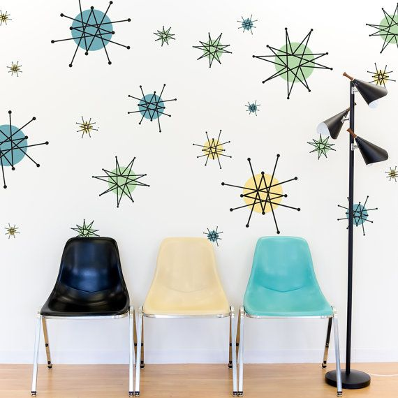 Bring back the adventure and showmanship of the 1950s era of science and progress with our Atomic Starburst Wall Sticker Set! Peel and stick them