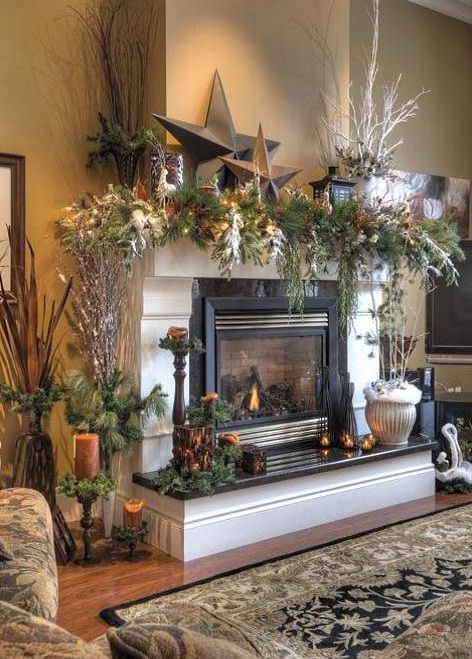 Great Mantel Christmas Fireplaces Decoration Ideas