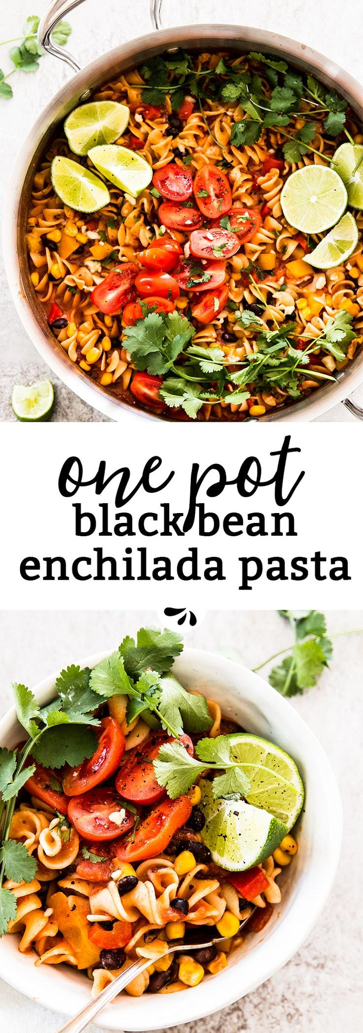 One Pot Black Bean Enchilada Pasta is an easy vegetarian one dish recipe you can make for lunch or dinner. My kids love it, so I'm sure your family will be all over it, too! It's simple to make with hardly and prep and is on the table in less than 30 minutes. The perfect easy meal for Cinco de Mayo or anytime you feel like Mexican food without the hassle! via @savorynothings
