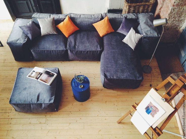 Купить Набор модульной бескаркасной мебели - темно-серый, модульная мебель, диван для гостиной, интерьер