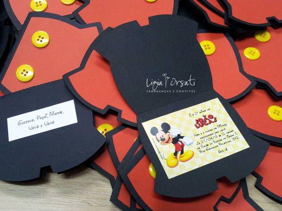 Convite Mickey - Calça   Ligia Orsati Designs   2E134C - Elo7