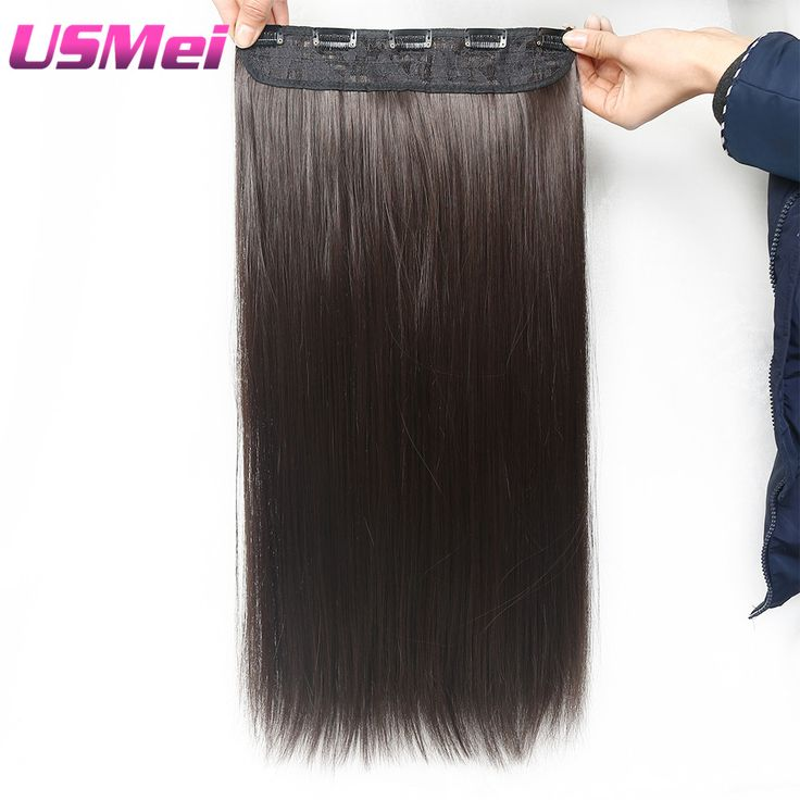USMEI 5 clips piece Natural straight Hair Extention 24 inches 120g Clip in women pieces Long. Click visit to buy #SyntheticExtensions