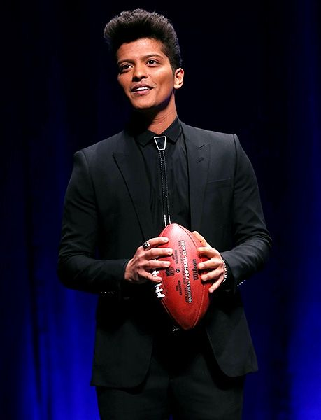 January 30: Halftime performer Bruno Mars speaks at the Pepsi Super Bowl XLVIII Halftime Show Press Conference at Rose Theater, Jazz at Lincoln Center in New York City.