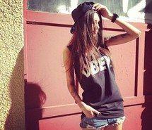 cap, brunette, girl, shirt, obey, sun, loveit, fashion, long, hair, style, Tattoos, diana melison