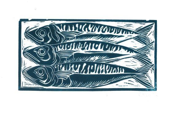 Original signed linocut prints. 10 x 20cm on a by CardabelleDesign