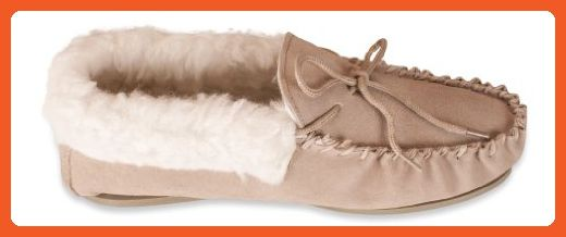 Nordvek Premium Ladies Genuine Lambswool Moccasin Slippers With Wool Collar Hard Sole # 417-100, Camel, 7 UK (9.0 M US Women) - Slippers for women (*Amazon Partner-Link)