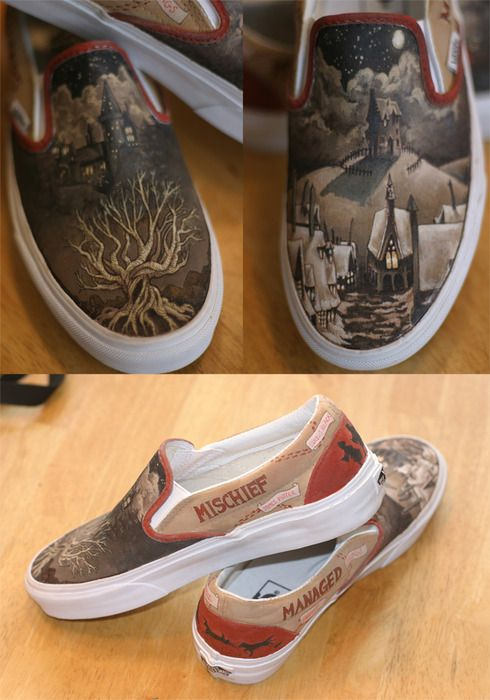 Hand painted Harry Potter shoesHarry Potter Shoes, Hogwarts, Vans, Crazy Shoes, Harrypotter, Mischief Management, Canvas, Sneakers, Harry Potter Stuff