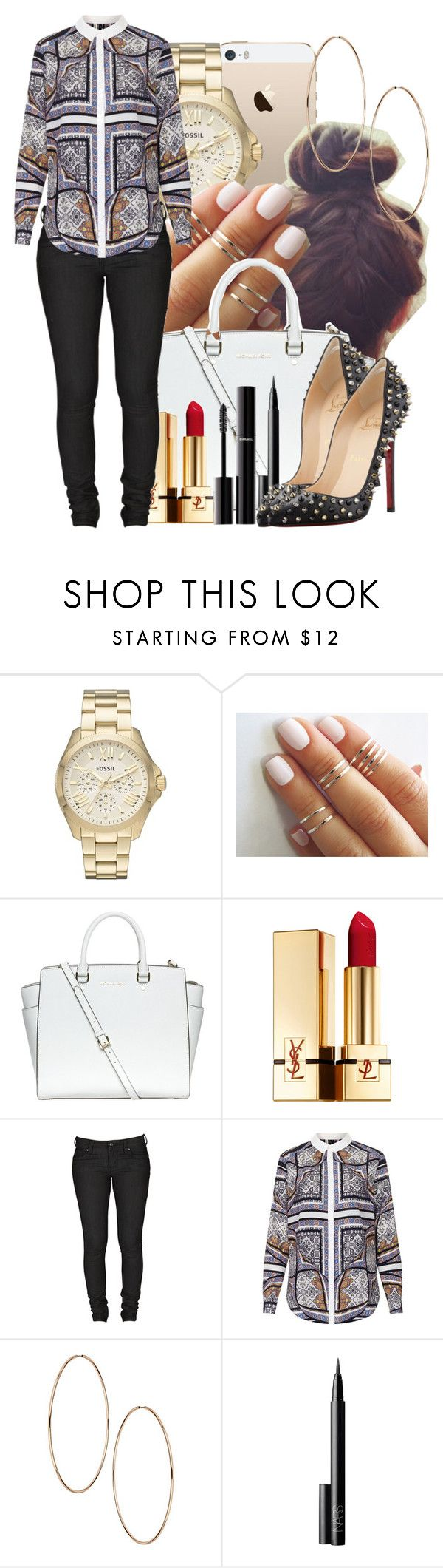 """""""17 June, 2014"""" by jamilah-rochon ❤ liked on Polyvore featuring FOSSIL, MICHAEL Michael Kors, Yves Saint Laurent, Levi's, Topshop, NARS Cosmetics, Christian Louboutin and Chanel"""