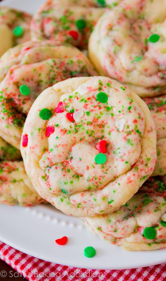 Soft-Baked Sugar Cookies for Christmas! Easy homemade cookie recipe by sallysbakingaddiction.com