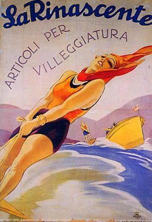 """Anno: 1926 Soggetto: """"La Rinascente, articoli per villeggiatura"""" - Stampa Star – IGAP, Milano Provenienza: Raccolta Salce, Museo Bailo, Treviso"""