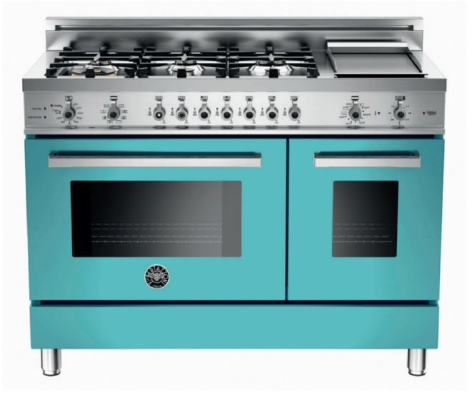 """Lowest price on Bertazzoni PRO486GDFSAZ Professional 48"""" Azzurro Dual Fuel (Gas) Sealed Burner Double Oven Range - Convection. Shop today!"""