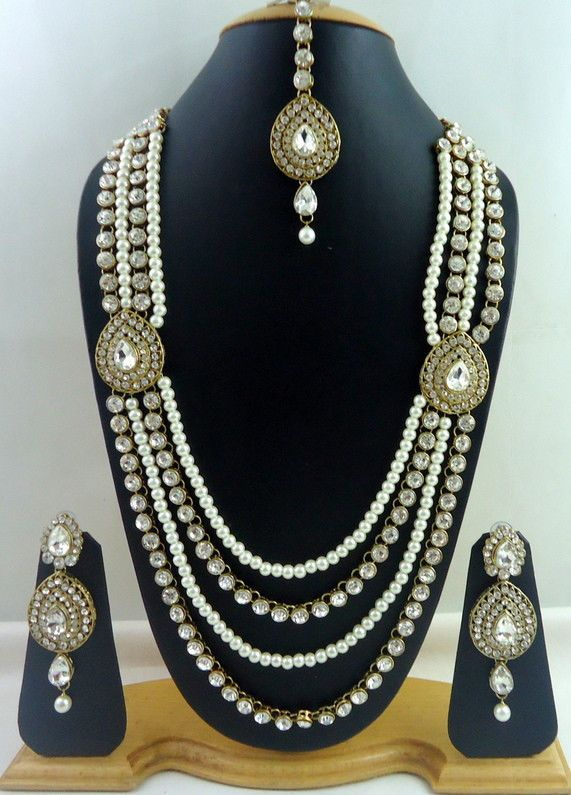 White Crystal Pearl Gold Tone 4 Line Rani Haar Long