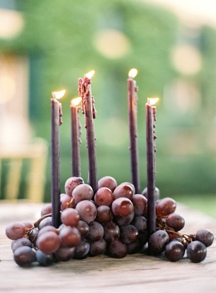 Wedding Decor - Grapes + Candles - SOOO Lovely! More on  http://www.StyleMePretty.com/2014/03/26/an-italy-workshop-the-wedding-inspiration/ Jose Villa Photography - josevillablog.com