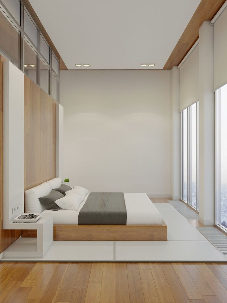 Apartments:White Comfy Bed White Cushions Wooden Striped Pattern Wall Wooden Striped Pattern Floor White Small Bed Side Table Ceiling Lights Dimmer Light Switch Glass City Views Wall Glass Ventilation A Huge Apartment with Charming Simple Interior