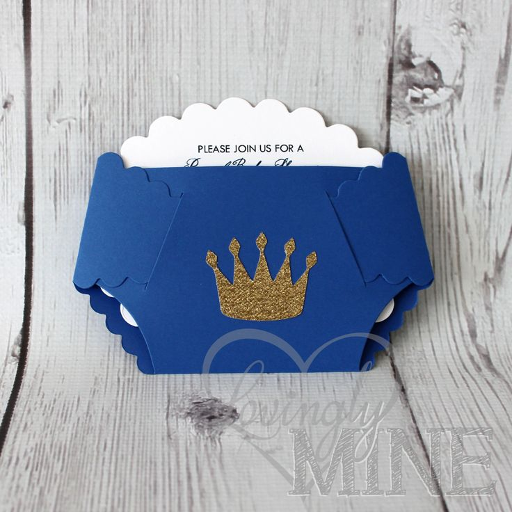 Little Prince Diaper Invitations in Royal Blue and Glitter Gold - Set of 10 by LovinglyMine on Etsy