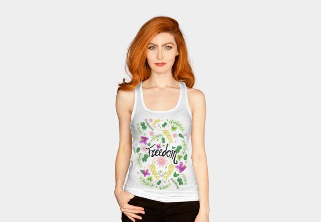 """Freedom. Floral Pattern (flowers pattern) by #beatrizxe   #designbyhumans #dbh #tank #top Illustration of a floral pattern of several types of flowers with the word """"Freedom"""" written in the middle. There are leaves, limbs, seeds, water lilies and hibiscus or Chinese roses. #freedom #flower #flowers #pattern #ink #leaf #leaves #branch #branches #limb #limbs #seed #seeds #waterlily #waterlilies #hibiscus #plant #plants #wheat #earth #eco #ecology #nature #hippie #forest #woodland #hipster…"""