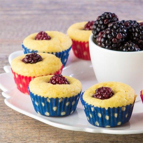 Mini Blackberry & Lemon Corn Muffins, gluten-free. Two-bite berry good ...