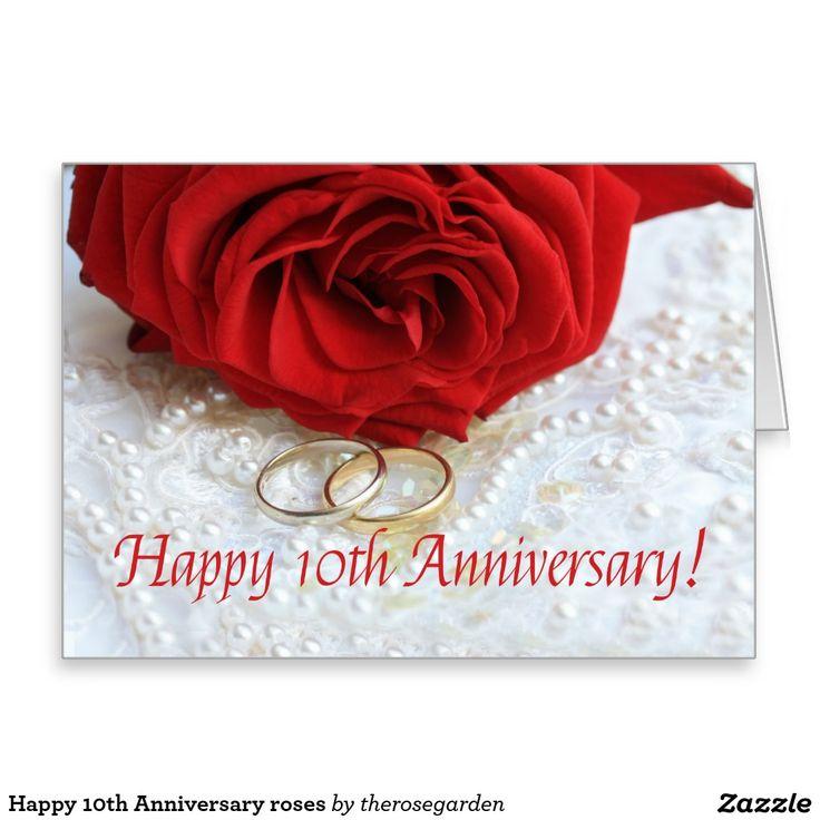 Pin On Wedding Anniversary 2020: Happy 10th Anniversary Roses Card