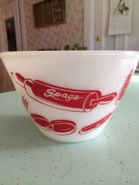 Fire King - Spag's Anniversary Splashproof Bowl. I have this bowl from my grandmother.