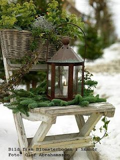 White Weathered Hutch: Christmas Snow....Winter......Garden....
