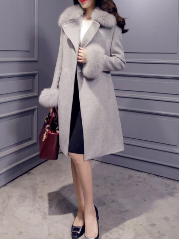 トレンドありフォックスファーファッションラシャアウターコート , レディースファッション激安通販|20代