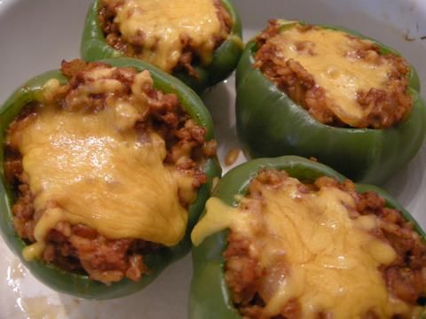 Stuffed Bell Peppers Ingredients 1 lb ground beef 1 small onion ...