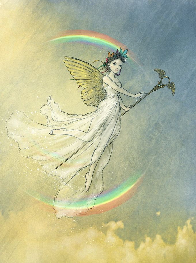 Iris Rainbow Goddess Greek Goddess Fairy Art by LaPetiteMascarade