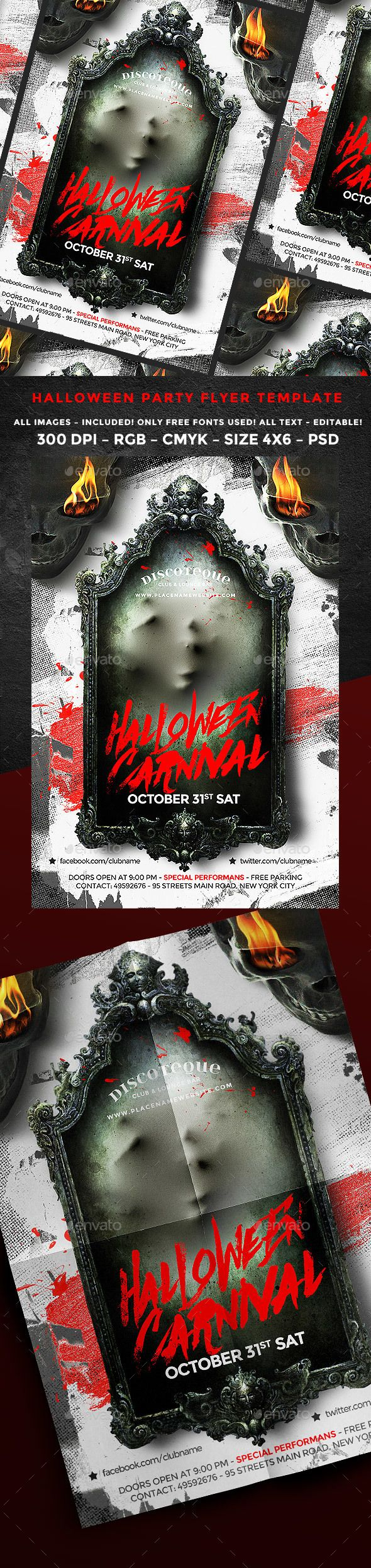 Halloween Flyer — Photoshop PSD #october #zombie • Available here → https://graphicriver.net/item/halloween-flyer/17959825?ref=pxcr