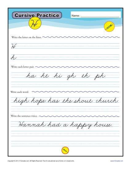 cursive h letter h worksheets for handwriting practice handwriting worksheets cursive. Black Bedroom Furniture Sets. Home Design Ideas