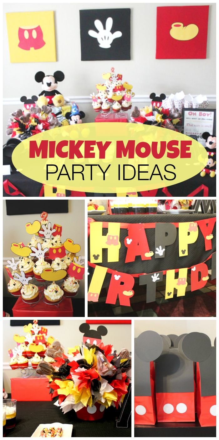 This Mickey Mouse boy birthday party has it all -- favor bags, banner, cupcakes and more! See more party ideas at CatchMyParty.com!
