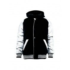 Urban Classics Hooded College Jacket Sweatjacket. With a wool body and white artificial leather sleeves.