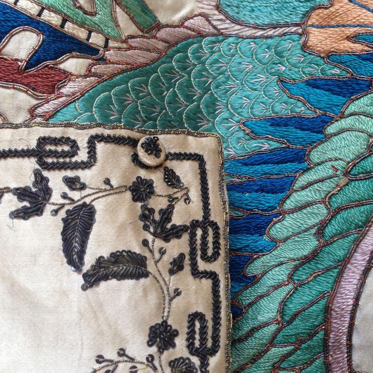 Georgian waistcoat, 19th Century Chinese silk banner