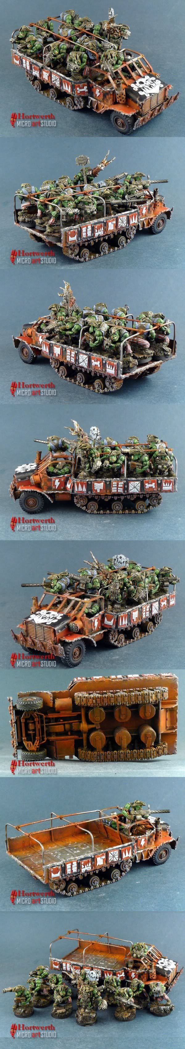 Freebotaz Orks in scratchbuilt trukk