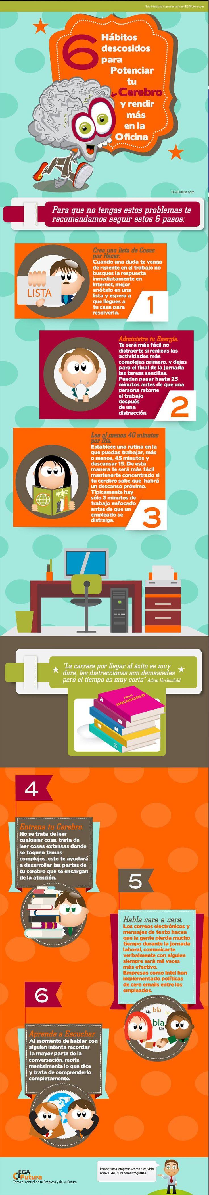 6 hábitos para potenciar tu cerebro y rendir más #infografia
