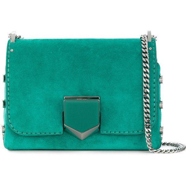Jimmy Choo Lockett Petite shoulder bag ($1,555) ❤ liked on Polyvore featuring bags, handbags, shoulder bags, green, green handbags, summer purses, shoulder hand bags, evening handbags and blue purse
