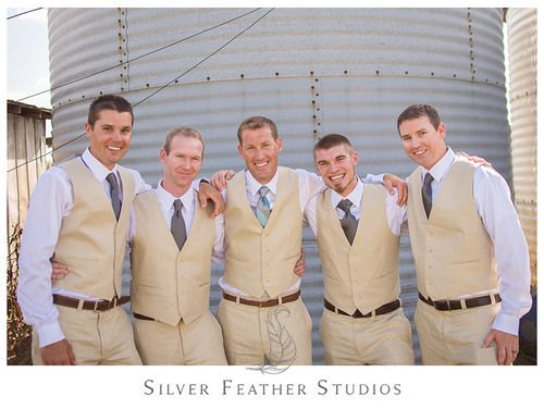 Groomsmen wear white shirts with khaki vest and pants, and grey ties at this Starlight Meadow wedding, a TriadWeddings venue. © Silver Feather Studios, Burlington, NC Wedding Photography and Videography
