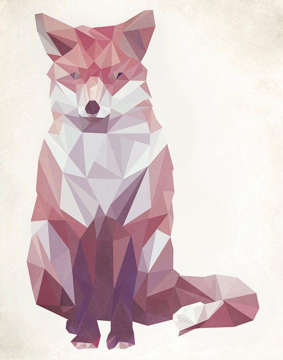 Geometric Fox Art Print by evadesignstudio on Etsy