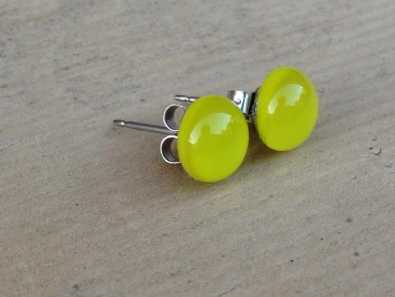 Round She Goes - Market Place - Lemongrass Fused Glass Mini Stud Earrings