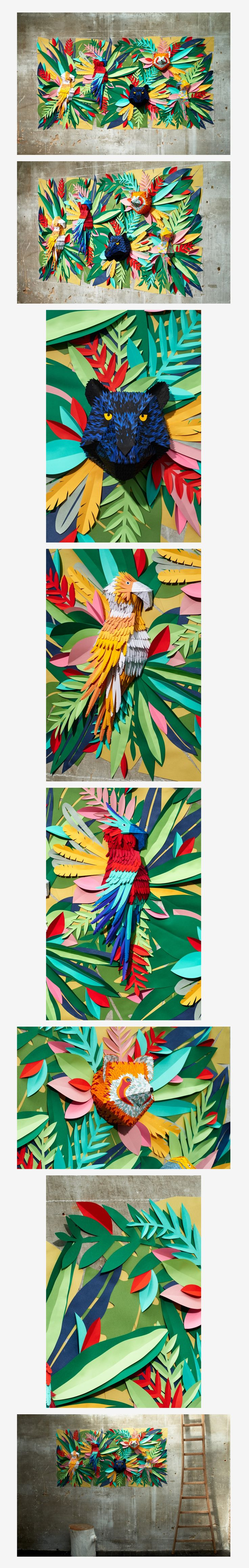 Mlle Hipolyte - Tropical Jungle Paper art / collage Brazil Olympics themed project for Arts Camp.