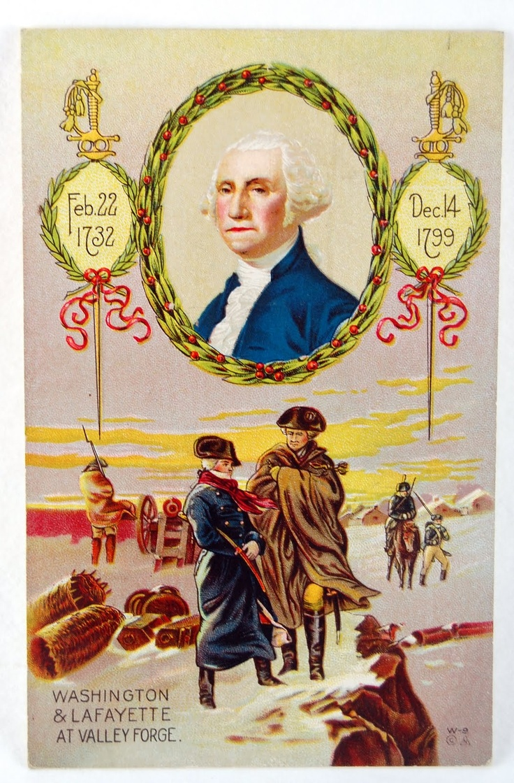 Postcard Memorializing The Life Of George Washington, Featuring An  Illustration Of Geo And Lafayette