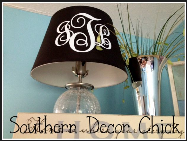 Monogrammed Lamp Shade - GREAT idea for our vinyl monograms!!  www.initialoutfitters.net/leesa  find me on facebook: Leesa's Initial Outfitters and msg me for discounted shipping.