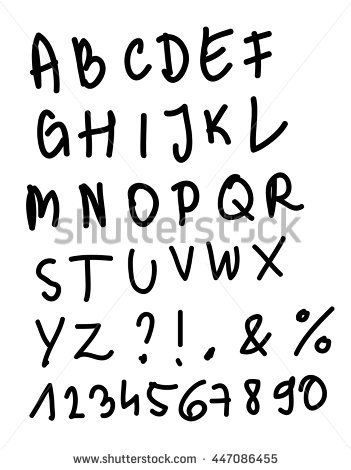 Hand written alphabet and numbers vector