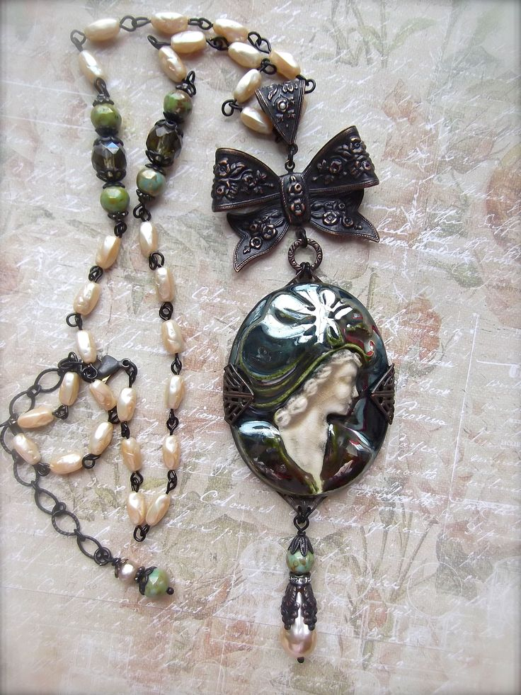 FUF1/19/18 Rusty Iron from B'Sue, everything but 2 Czech faceted beads and Cameo from our friend Harry Wood, from B'Sue. Yes I made the pearl chain with the gorgeous B'Sue pearls! ;-)  MockiDesigns.etsy.com