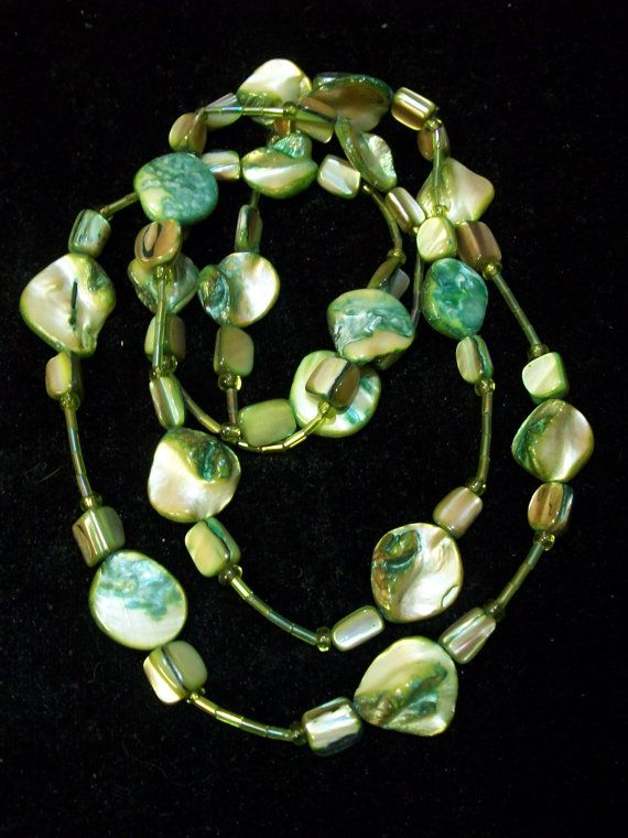 VERY Long Green Mother of Pearl Shell Necklace by Dare2beUNIQUE