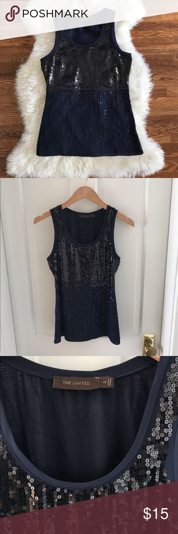 Navy sequin tank. Size XS Navy sequin tank from The Limited. The Limited Tops Tank Tops